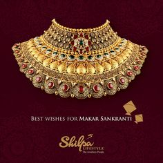 May this auspicious day dazzle you with your fortune right away. Sky is the limit! Bridal Jewelry Sets, Bridal Jewellery, Gold Bangles Design, Gold Jewellery Design, Italian Gold Jewelry, Antique Jewellery Designs, Makar Sankranti, Gold Necklace, Indian