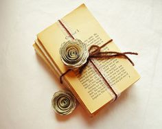 60 Paper Flowers, Vintage Wedding Paper Roses Book Page Flowers
