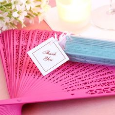 14 Different colors to choose from.  Awesome for an outdoor wedding. Color Wood Panel Hand Fan with Organza Bag by Beau-coup