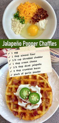 Mini Waffle Recipe, Waffle Maker Recipes, Dash Recipe, Low Carb Breakfast Easy, Breakfast Snacks, Breakfast Recipes, Low Carb Recipes, Cooking Recipes, Comida Keto