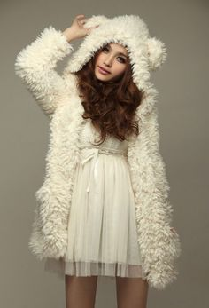 Super cute white teddy bear coat - those ears are playful and fun for the winter season.