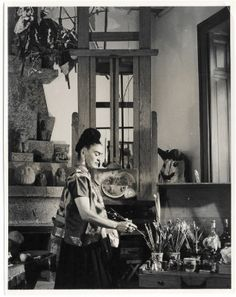 Photographer unknown, Frida Kahlo in her studio at Casa Azul, Coyoacan, n.d. Vicente Wolf Photography Collection