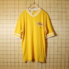 古着 90s USA製 NBA LOS ANGELES LAKERS レイカース プリント Tシャツ 半袖 イエロー メンズM相当 Dodger