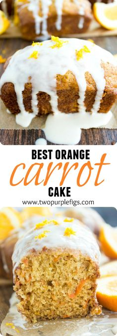 Best Orange Carrot Cakes. This recipe is simply the best carrot cake! Quick, easy, very carrot-y, slightly orange-y, and absolutely not greasy! Orange cream cheese icing drizzled on top for a PERFECT finish. www.twopurplefigs...
