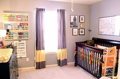 "I spy curtains, crib sheet and changing pad cover from @The Land of Nod in this ""industrial modern"" #nursery!"