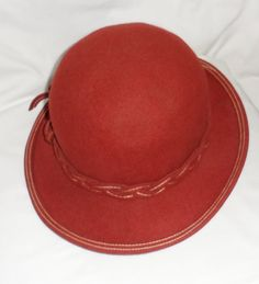 RED MOUCHAIR FELT Hat/ Ladies Rusty Red Shaded by BYGONERA on Etsy, $125.00