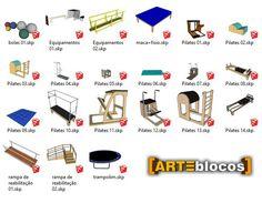 Amostra de Blocos sketchup para equipamentos de fisioterapia / pilates, como por exemplo Reformer, Reformer Infinity,  Cadillac, Ladder Barrel, Chair, Prancha (parede), Aéreo ou Suspensus, tapete, trampolim, disponível para download