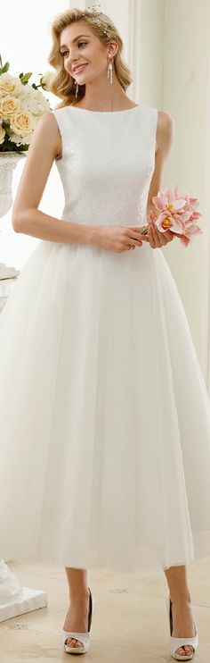 A-Line Princess Bateau Neck Tea Length Sequin Tulle Wedding Dress with Sequins