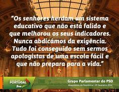 Palavras do Grupo Parlamentar do Partido Social Democrata no Debate do Orçamento do Estado para 2016 na Especialidade com o Ministro da Educação. #PSD #acimadetudoportugal
