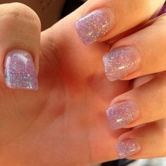 acrylic nails white tip with pink glitter base  nail