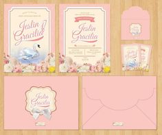 Swan Theme Invitation Card fro Sweet Seventeen Birthday by Request