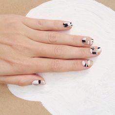B+W nails - Pinterest: Joelle│ɷ Oh Happy Land