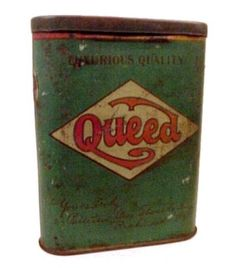 Queed Pipe Cigarette Tobacco Pocket Tin. Vintage Tobacciana collectible from the Patterson Brothers Tobacco Company of Richmond Virginia.
