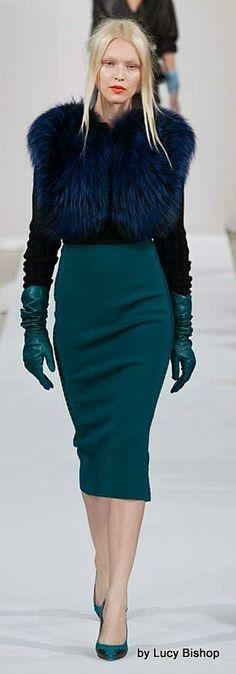 Oscar de la Renta Blue Fur Coat Jacket & Pencil Skirt Retro Inspired #UNIQUE_WOMENS_FASHION