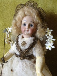 Antique Bisque French Christmas Tree Fairy Angel Doll Boxed Decoration