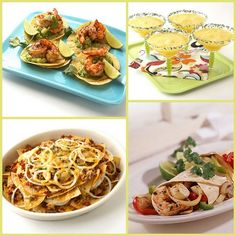 Mango Margaritas made with fresh mango puree, Chipotle Shrimp Taco with Avocado Salsa Verde, Cheese Nachos Fun Party Themes, Dinner Themes, Party Ideas, Food N, Food And Drink, Tacos Mexicanos, Margarita Party, Mexican Food Recipes, Ethnic Recipes