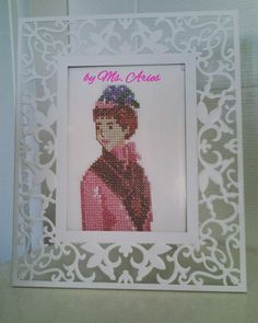Framed Vintage Lady / Handmade / Gift / Cross Stitch / Wall Art / Wall Hanging /Framed Art by AtelierbyMsAries on Etsy