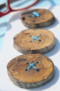 Handmade Drift Wood Buttons, Three 1.5 inch Natural Drfitwood Wooden Buttons