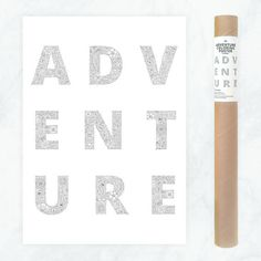 adventure typography poster - coloring poster for travelers - typography poster wanderlust - detailed floral coloring pages for adults by AnnaGrundulsDesign