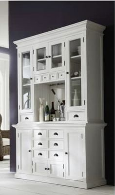 Modernize your living space with this NovaSolo wood hutch. This white hutch unit is an ideal piece for your home furnishing collection. The sturdy wood frame and modern brass and glass accents, make i Painted China Cabinets, Painted Hutch, Painted Furniture, White Hutch, White Buffet, Kitchen Wall Units, Kitchen Sink, Kitchen Ideas, Dining Room Hutch