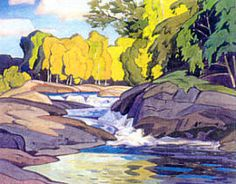 Rapids ~ by A J Casson ~ Group of Seven Canadian Artists Group Of Seven Artists, Group Of Seven Paintings, Emily Carr, Tom Thomson, Canadian Painters, Canadian Artists, Landscape Art, Landscape Paintings, Oil Paintings