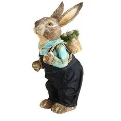 """RAZ Standing Bunny in Overalls with Basket on Back Size: 24""""   Rustic looking bunny in shades of cream and brown Made of Styrofoam, Grass Measures 24"""" X 12"""" X 9""""  Whimsical bunny wearing"""