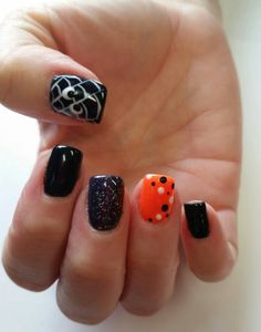 Halloween theme gel nails by The Henhouse in Cochrane Alberta Canada 403-932-4640.
