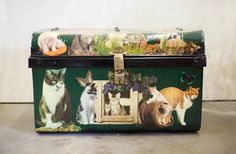 File this under WTF/I want it now. Rare Antique Decoupage English Kitten Trunk by TheParsonsPleasures, $350.00