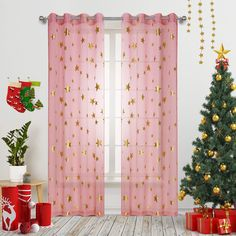 Pink Star Print Curtains Sheer Window Drapes with Gold Twinkle Star for Living Room 2 Panels Grommet Thin and Soft Cosmic Theme for Bedroom and Space-Loving Grown-ups 63 inch Length Pink And Grey Curtains, Black Shower Curtains, Colorful Curtains, Tassel Curtains, Printed Curtains, Window Drapes, Girls Bedroom Curtains, Nursery Curtains, Bedroom Girls