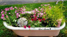 vintage, garden,pink,shabby chic,bathtub, flowers,  planter, painted