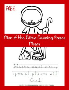 FREE Men of the Bible Coloring Page-Moses. Have you ever stopped to think how many journeys Moses took during his lifetime? I tend to think of the long journey with the Israelites to the Promised Land, but Moses began his travels as a baby when he was taken from home to live in the palace.Every step of the way, evidence of God's hand in his life can be seen.