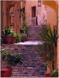Steps in the old city of Birgu, Malta