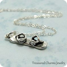 Snowboard Necklace Sterling Silver Snowboard by treasuredcharms