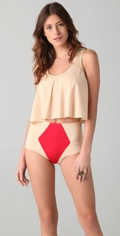 This is like painting a trapezoid target on your nether regions. Can't understand this as a bathing suit.