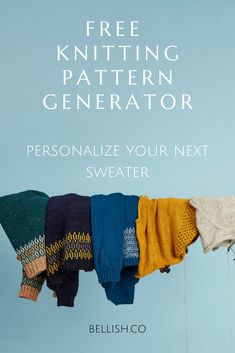 Personalize your next sweater with the free knitting pattern generator by Bellish. Knitting Basics, How To Start Knitting, Knitting For Kids, Loom Knitting, Knitting Stitches, Knitting Socks, Knitting Patterns Free, Knit Patterns, Free Knitting
