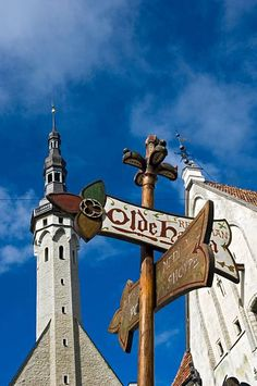 Churches and sign in Tallinn old town