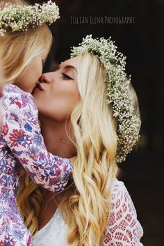 Mother + Daughter - Family Photos - North Central Florida Photographer - Jillian Elena Photography  #photography #photographer #florida #blonde #flowercrown #familyphotos #family #love #sweet #motherdaughter #daughter #children #mother #boho #perfect #beautiful #lace #romper #kiss #childphotography