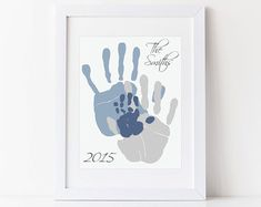 Family Art Handprint Alternative Portrait, Custom Home Decor, Living Room Wall Art, Your Actual Hand Prints, inches UNFRAMED Wall Art custom wall art First Fathers Day Gifts, Gifts For New Dads, Handprint Art, Baby Handprint Ideas, Baby Footprints, Art Mural, Baby Art, Living Room Art, Handmade Home
