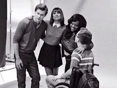 Chord Overstreet, Lea Michele, Amber Riley and Kevin McHale at the Glee gallery shoot for season 6