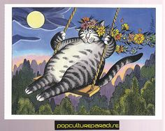 B. KLIBAN (Bernard) CATS ART POSTCARD Kitty Swinging flowers hair | eBay