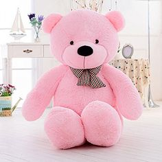 Cute Giant Pink Teddy Bear Plush Stuffed Animals For Girlfriend 47 inch – East River Online Large Teddy Bear, Giant Teddy Bear, White Teddy Bear, Vintage Teddy Bears, Cute Teddy Bears, Nanjing, Giant Plush, Teddy Bear Pictures, Teddy Images