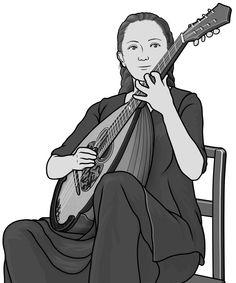 [ mandolin / mandocello,mandoloncello ] plucked string instrument.