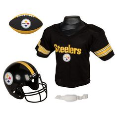 Pittsburgh Steelers NFL Youth Size Helmet and Jersey With Team Color Football