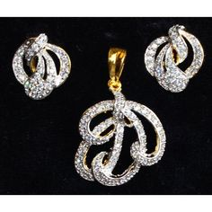 CZ studded silver & gold plated pendent set  - Online Shopping for Pendants by Ami Designs