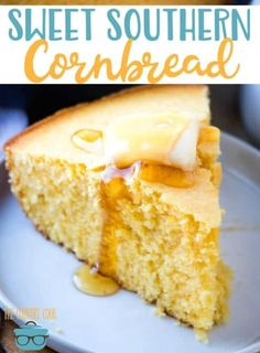 Sweet Southern Cornbread (Corn Cake) recipe from The Country Cook is moist and sweet and perfect with a bowl of chili. Sweet Southern Cornbread (Corn Cake) recipe from The Country Cook is moist and sweet and perfect with a bowl of chili. Southern Cornbread Recipe, Cornbread With Corn, Sweet Cornbread, Southern Recipes, Southern Food, Cornbread Cake, Cornbread Recipe With Cake Mix, Cornbread Recipe From Scratch, Jiffy Cornbread Recipes