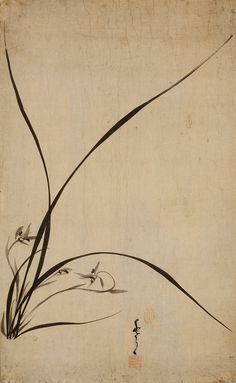 """Orchid - YIm Hui-ji (1765-?) was a painter of the Joseon Period who excelled at painting orchids and bamboo in black ink. In this painting, he identified himself by signing the work as """"Suwol"""" (水月), literally meaning """"Water and Moon""""."""