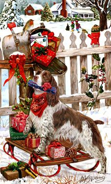 "New for 2013! Springer Spaniel Christmas Holiday Cards are 8 1/2"" x 5 1/2"" and come in packages of 12 cards. One design per package. All designs include envelopes, your personal message, and choice of greeting. Select the inside greeting of your choice from the menu below.Add your custom personal message to the Comments box during checkout."