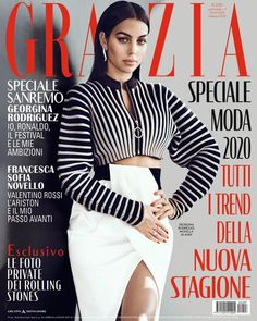 Georgina Rodriguez for Grazia Italy Fashion Magazine Cover, Magazine Covers, Grazia Magazine, Cristiano Ronaldo Cr7, Valentino Rossi, Christopher Kane, Cover Photos, Blue Jeans, Madrid