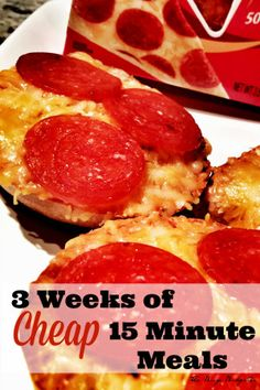 3 weeks of cheap dinners, ready in 15 minutes! 21 super easy dinners for busy nights using cheap ingredients. Perfect for novice chefs, busy moms, college students etc.