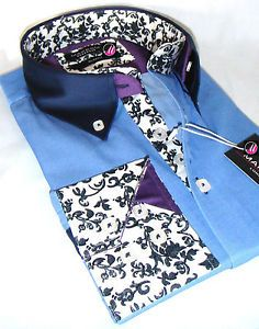 Brand New Mens Blue Smart Casual Paisley Patterned Collar Cuff Slim Retro Shirt